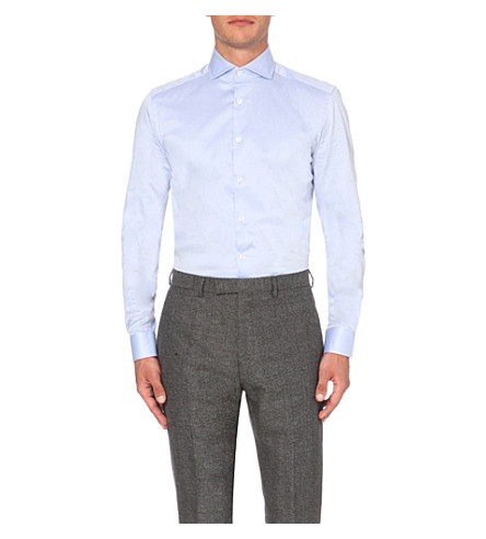 REISS Angeles slim-fit cotton shirt (Sky+blue