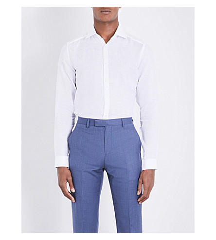 REISS Perdu slim-fit linen shirt (White