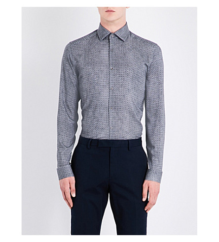 REISS Temple slim-fit woven shirt (Grey