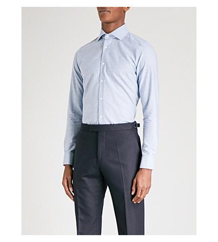REISS Stefan melange-patterned slim-fit cotton shirt (Blue+marl