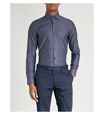 REISS Straith micro geometric-patterned slim-fit cotton shirt (Indigo