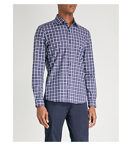 REISS Foxtrot checked regular-fit cotton shirt (Blue