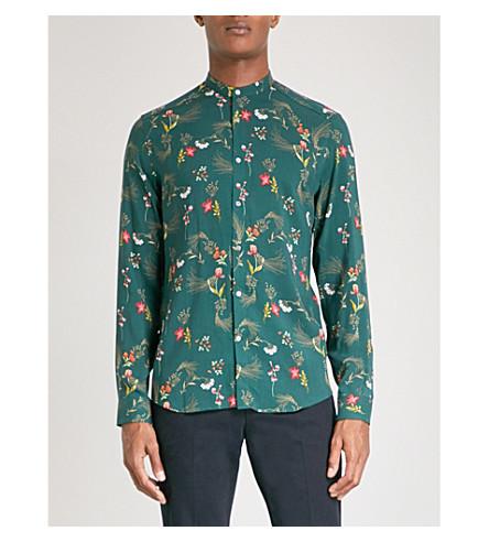 REISS Gaspar floral-print poplin grandad-collar shirt (Green