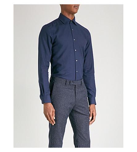 REISS Leonardo twill-weave regular-fit cotton and cashmere-blend shirt (Navy