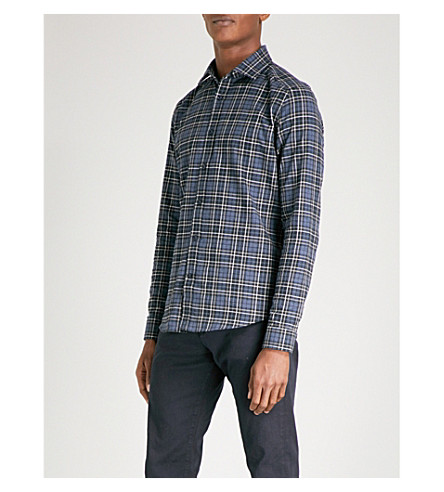 REISS Tristan checked slim-fit brushed-cotton shirt (Navy
