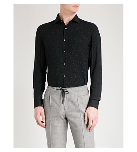 REISS Eddie polka-dot slim-fit crepe shirt (Black