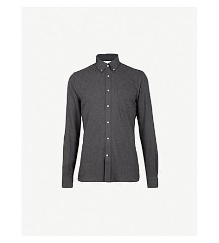 REISS Emerick slim-fit cotton-flannel shirt (Charcoal