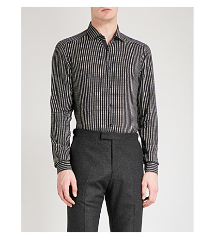 REISS Fonso polka-dot slim-fit poplin shirt (Black