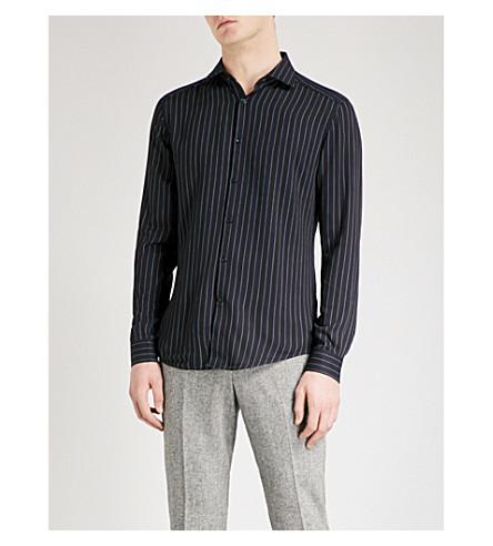 REISS Ifans striped slim-fit twill shirt (Navy