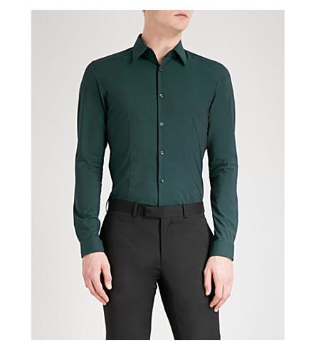 REISS Julian slim-fit cotton-poplin shirt (Deep+green