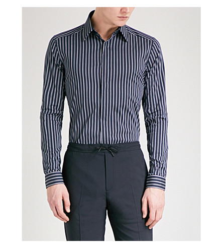 REISS Kylo striped slim-fit cotton-blend shirt (Navy