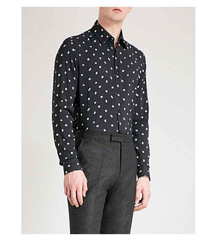 REISS Provost cotton-poplin shirt (Black