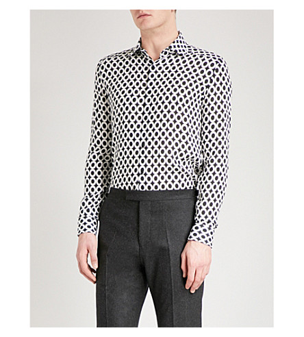 REISS Reaves cotton-poplin shirt (Black