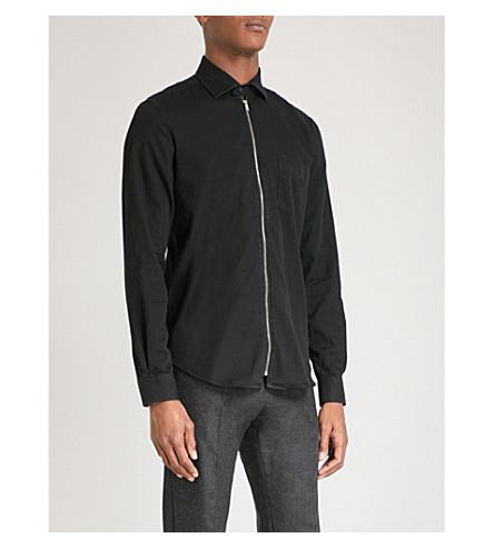 REISS Stag cotton-twill shirt (Black