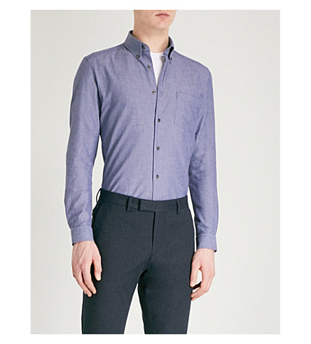 REISS Ainslee slim-fit cotton-poplin Oxford shirt (Navy