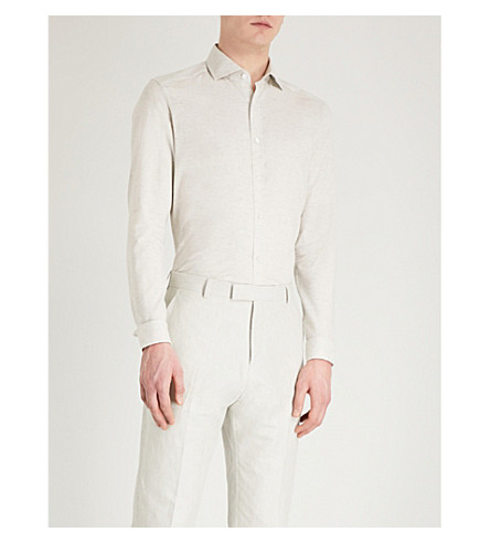 REISS Cody melange slim-fit cotton and linen-blend shirt (Stone