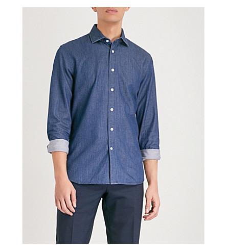 REISS Dekyser slim-fit cotton denim shirt (Blue