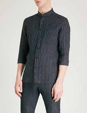REISS Tokyo striped regular-fit linen shirt