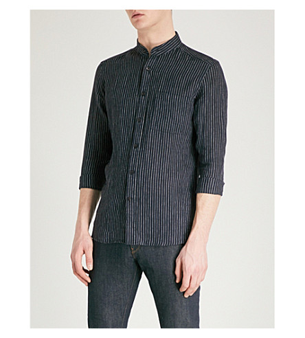 REISS Tokyo striped regular-fit linen shirt (Navy