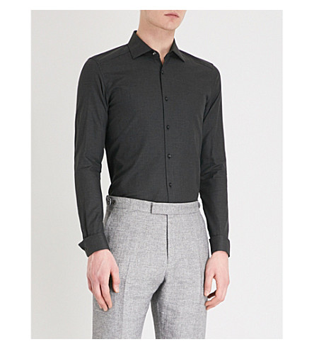 REISS Tucci cotton shirt (Charcoal