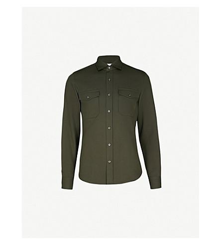 REISS Ambros cotton overshirt (Forest+green