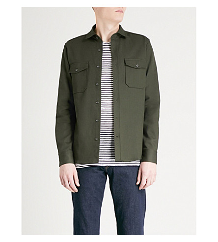 REISS Ambros cotton overshirt (Forest+green