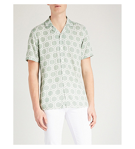 REISS Armarda geometric-print regular-fit poplin shirt Sage For Cheap Cheap Online Wear Resistance Huge Surprise For Sale Pay With Visa Online qWXMau