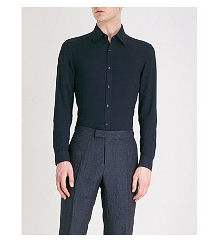 REISS Fallen regular-fit crepe shirt (Navy