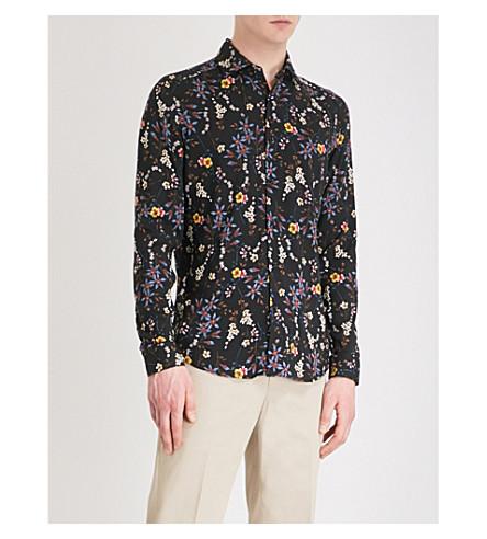 REISS Fino floral-print slim-fit woven shirt (Black