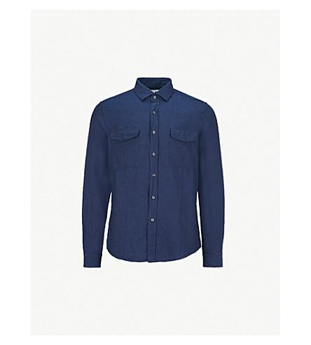 REISS Harris relaxed-fit cotton and linen-blend shirt (Indigo