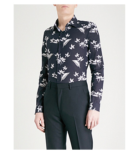 REISS Maui slim-fit cotton shirt (Navy