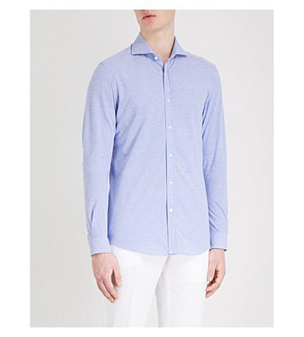 REISS Nate slim-fit cotton-piqué shirt (Soft+blue