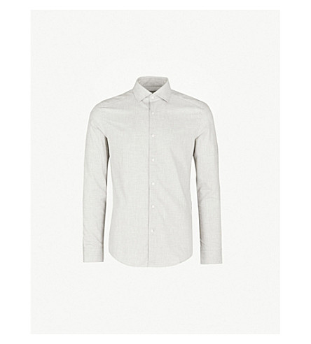 REISS Zetterberg slim-fit cotton-flannel shirt (Grey
