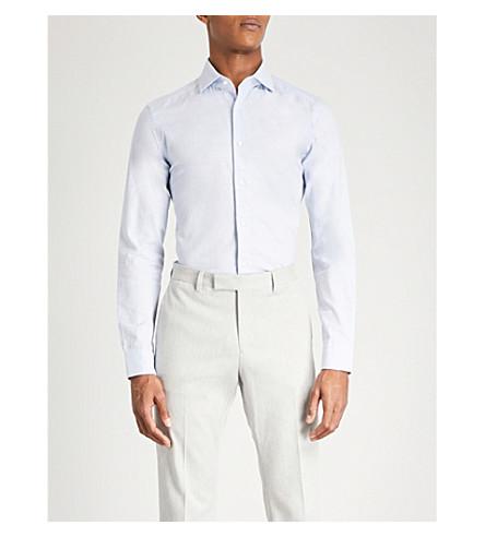 REISS Zetterberg slim-fit cotton-flannel shirt (Soft+blue