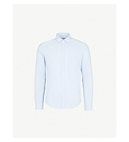 REISS Varsity regular-fit cotton shirt (Blue
