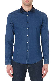 REISS Bronx contrast-collar denim shirt