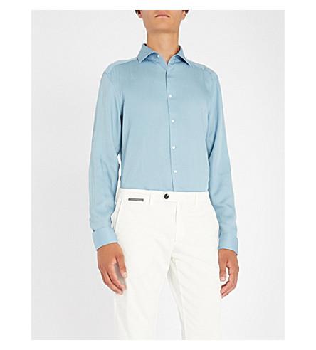REISS Jackson woven slim-fit tencel shirt (Blue