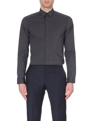 REISS Garcon slim-fit micro-checked shirt