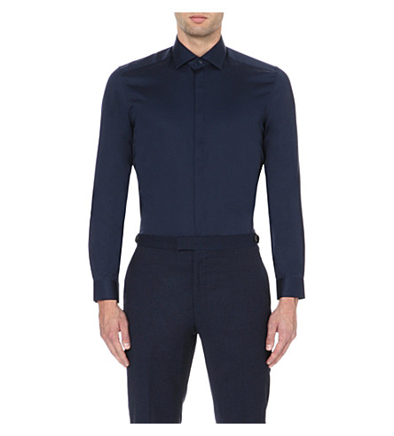REISS Jupiter slim-fit shirt (Navy