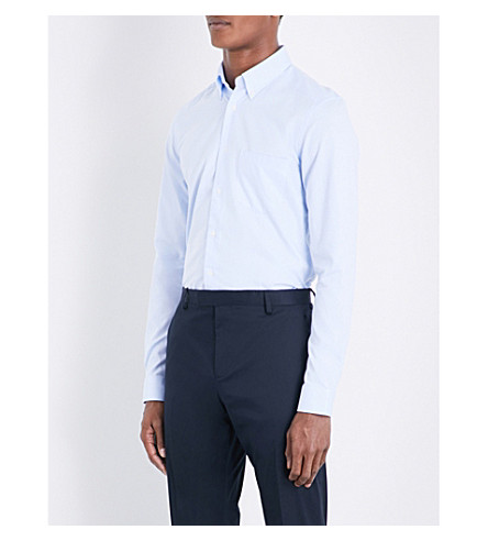 REISS Ainslee slim-fit cotton shirt (Soft+blue