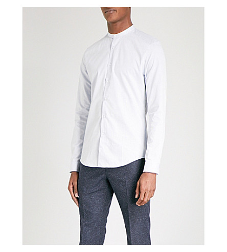 REISS Dacosta band-collar slim-fit cotton shirt (Soft+blue