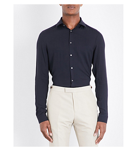 REISS Trix slim-fit twill shirt (Midnight