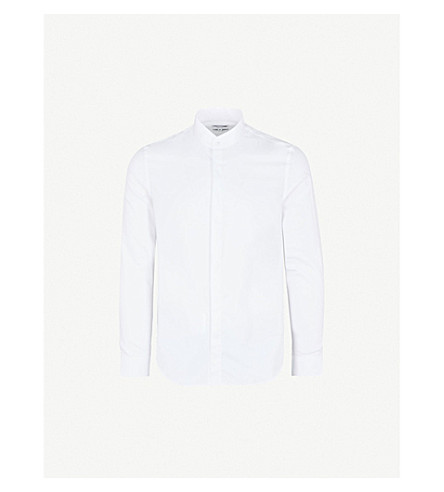 REISS Prime grandad-collar slim-fit cotton shirt (White