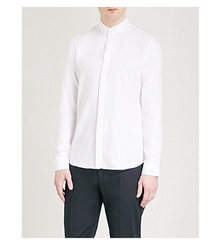 REISS Prime grandad-collar slim-fit cotton shirt (White