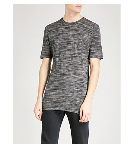 REISS Fordon marl-pattern jersey T-shirt (Charcoal