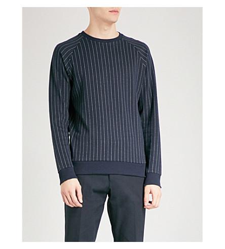 REISS Felix pinstripe knitted jumper (Navy