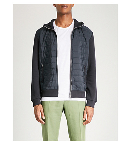 REISS Hanish quilted panel jersey hoody (Navy