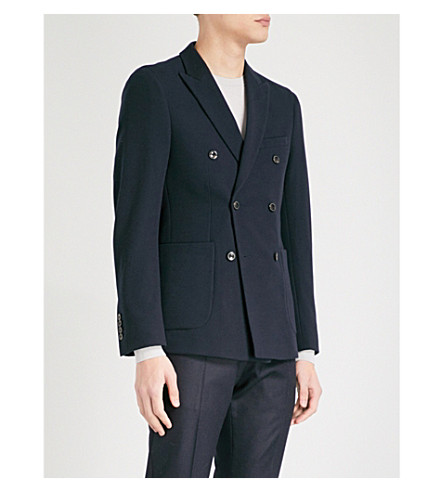 REISS Timmy double-breasted piqué blazer (Navy