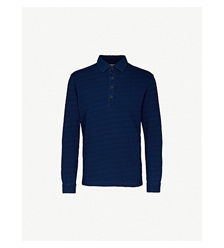 REISS Mitchel cotton-jersey polo shirt (Indigo