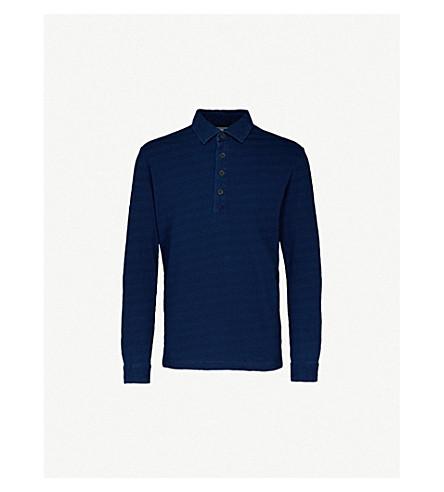 REISS 米切尔平纹针织棉 Polo 衫 (靛蓝